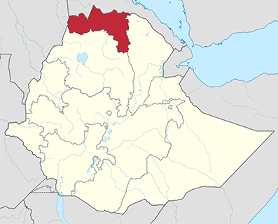 Tigray (in red) in Ethiopia. Map By TUBS [CC-BY-SA-3.0 licence], via Wikimedia Common